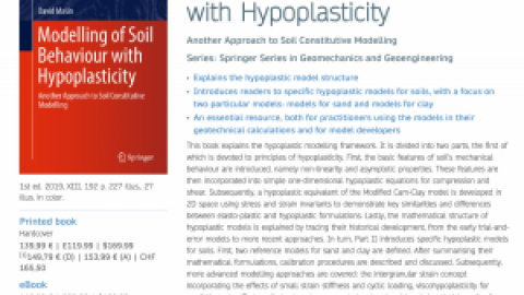 "New book ""Modelling of Soil Behaviour of Hypoplasticity"""