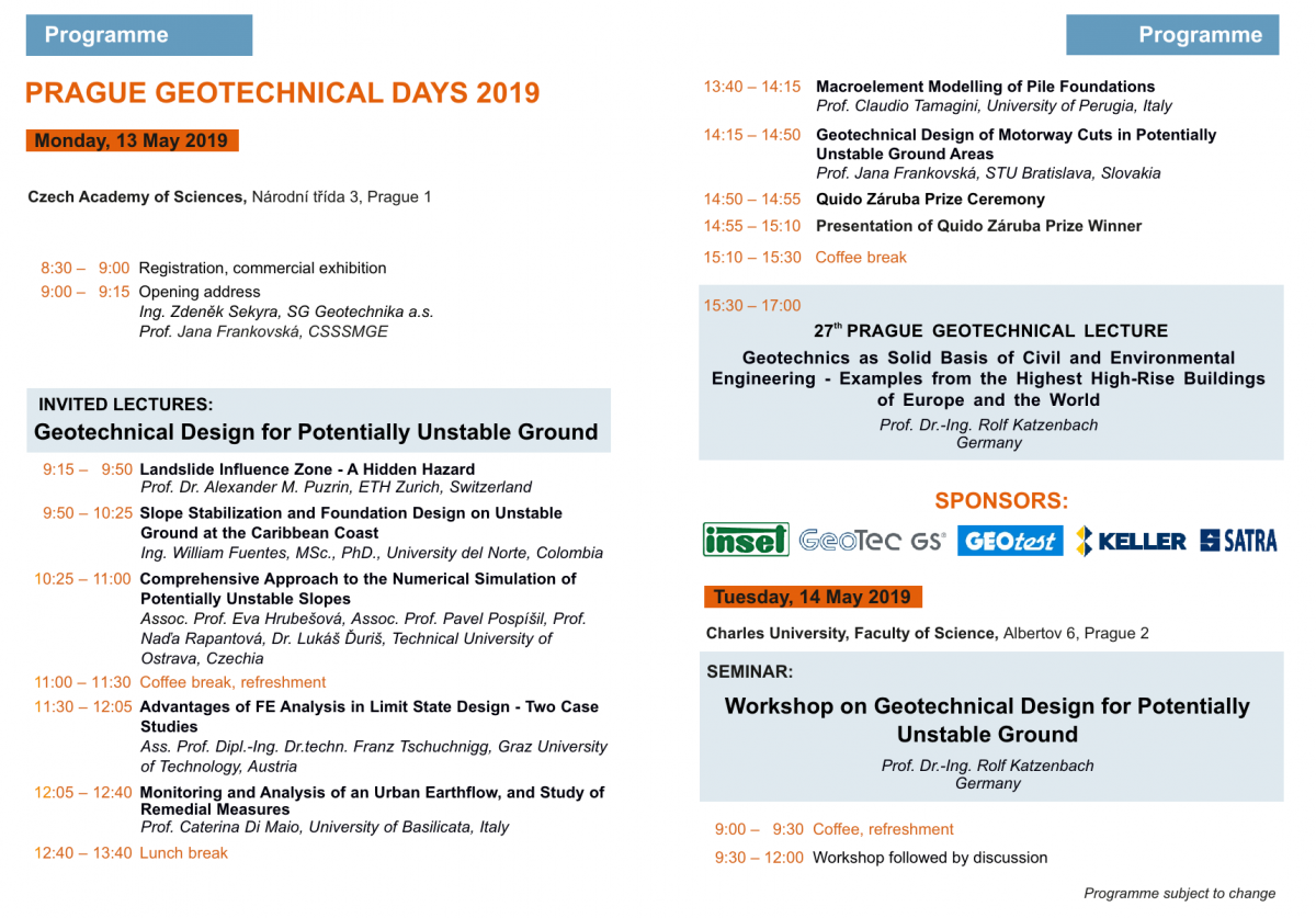 Prague Geotechnical Days 2019 - May 13-14