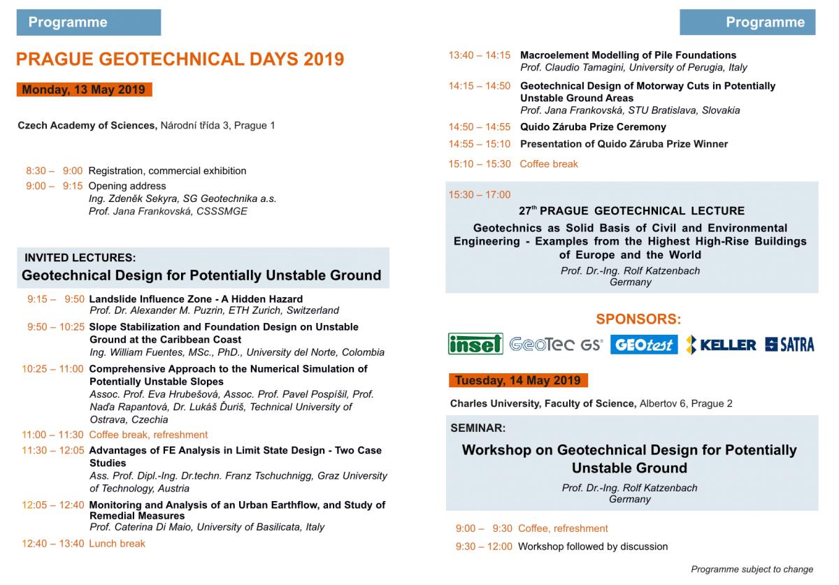 Prague Geotechnical Days 2019 - May 13-14 - SoilModels